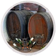 Old French Wine Casks Round Beach Towel