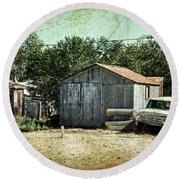Old Garage And Car In Seligman Round Beach Towel