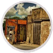 Old Gas Station Round Beach Towel