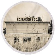 Old General Store Round Beach Towel