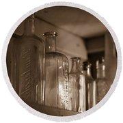 Old Glass Bottles Round Beach Towel
