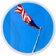 Old Glory Hdr Round Beach Towel