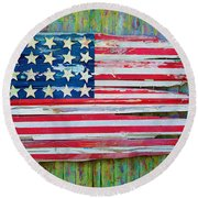Old Glory In Wood Impression Round Beach Towel