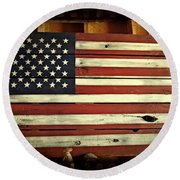 Old Glory In Wood Round Beach Towel