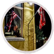Old Glory Reflected Round Beach Towel