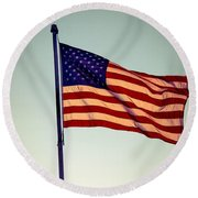 Old Glory Round Beach Towel