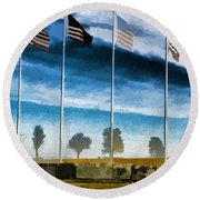 Old Glory-the American Flag Round Beach Towel