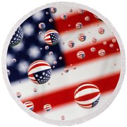 Old Glory Water Drops Round Beach Towel