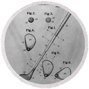 Old Golf Club Patent Illustration Round Beach Towel