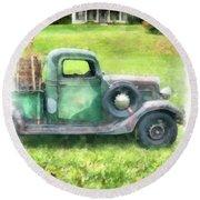 Old Green Pickup Truck Round Beach Towel