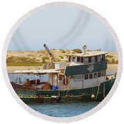 Old Green Scow Morro Bay Harbor Round Beach Towel