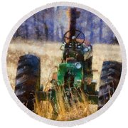 Old Green Tractor On The Farm Round Beach Towel