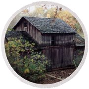 Old Grist Mill Round Beach Towel by Thomas Woolworth