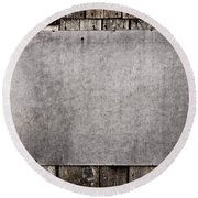 Old Grunge Plywood Board On A Wooden Wall Round Beach Towel