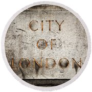 Old Grunge Stone Board With City Of London Text Round Beach Towel