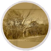 Old Haunted Tree In Sepia Round Beach Towel