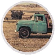 Old Hay Truck In The Field Round Beach Towel