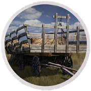 Old Hay Wagon In The Prairie Grass Round Beach Towel