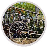 Old Hay Wagon Round Beach Towel