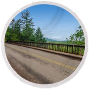 Old Highway And Forest Round Beach Towel
