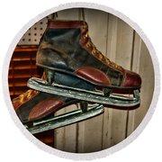 Old Hockey Skates Round Beach Towel by Paul Ward
