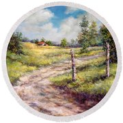 Old Home Place Round Beach Towel