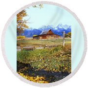 Old Homestead Round Beach Towel