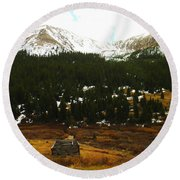 Old Homestead In The Colorado Mountains Round Beach Towel