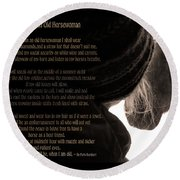 Old Horsewoman Round Beach Towel