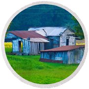 Old House And Harvest Time 2 Round Beach Towel