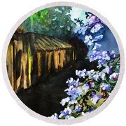 Old House And New Flowers Round Beach Towel