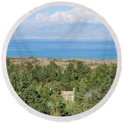 Old House By The Beach Round Beach Towel