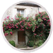 Old House Covered With Roses Round Beach Towel