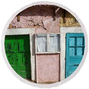 Old House Doors In Lisbon Round Beach Towel