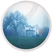 Old House In Fog Round Beach Towel