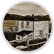 Old House In Sepia Round Beach Towel