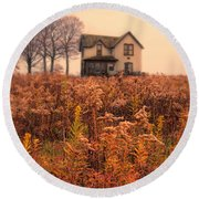 Old House In Weeds Round Beach Towel