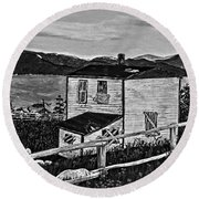 Old House - Memories - Shutters And Boards Round Beach Towel