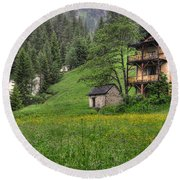Old House On The Green Field Round Beach Towel