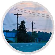 Old Houses And Sunset Round Beach Towel