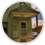Old Houses - New Jersey - In The Oranges - Green House With Flower Pots And Rocking Chairs - Color Round Beach Towel