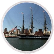 Old Iron Sides  Round Beach Towel