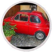 Old Italian Car Fiat 500  Round Beach Towel