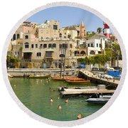 Old Jaffa Port Round Beach Towel
