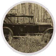 Old Jalopy Behind The Barn Round Beach Towel