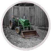Old John Deere Tractor Round Beach Towel by Edward Fielding