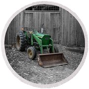Old Tractor By The Barn Etna New Hampshire Round Beach Towel