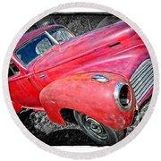 Old Junker Car Round Beach Towel