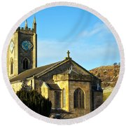 Old Kilpatrick Church 01 Round Beach Towel