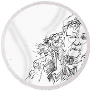Old Lady Round Beach Towel